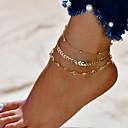 ราคาถูก กำไลข้อเท้า-สำหรับผู้หญิง สร้อยข้อมือข้อเท้า สองชั้น ง่าย สร้อยข้อเท้า เครื่องประดับ สีทอง / สีเงิน สำหรับ ทุกวัน