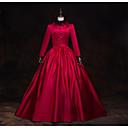 ราคาถูก เสื้อผ้าประวัติศาสตร์และวินเทจ-เครื่องแต่งกายในเทพนิยาย Renaissance หนึ่งชิ้น ชุดเดรส Outfits Party Costume Masquerade สำหรับผู้หญิง เครื่องแต่งกาย แดงและดำ Vintage คอสเพลย์ แขนยาว 3/4