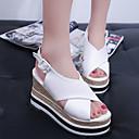 ราคาถูก รองเท้าแตะผู้หญิง-สำหรับผู้หญิง รองเท้าแตะ รองเท้าส้นตึก ที่สวมนิ้วเท้า PU minimalism ฤดูใบไม้ผลิ สีดำ / ขาว