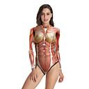 ราคาถูก ชุดเครื่องแบบเซ็กซี่-ชุดว่ายน้ำ Jumpsuit ชุดว่ายน้ำชุดคอสเพลย์ Skeleton / หัวกระโหลก สาวบี ผู้ใหญ่ คอสเพลย์และคอสตูม คอสเพลย์ วันฮาโลวีน สำหรับผู้หญิง Drak Red Printing วันคริสต์มาส วันฮาโลวีน เทศกาลคานาวาล