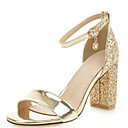 cheap Women's Sandals-Women's PU(Polyurethane) Summer Sandals Chunky Heel Open Toe Rhinestone / Sequin / Buckle Gold / Silver / Wedding / Party & Evening