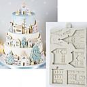 זול כלים לאפייה-חג המולד עוגת זנגביל בית עובש סיליקון עובש עובש כלי לקשט שוקולד gumpaste sugarcraft מטבח גאדג 'טים