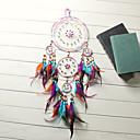 Χαμηλού Κόστους Ονειροπαγίδα-παραδοσιακή χειροτεχνία ονειροπόλος κρεμαστή κρέμα φτερά με πέντε δαχτυλίδια
