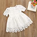 Χαμηλού Κόστους Φορέματα για κορίτσια-Μωρό Κοριτσίστικα Ενεργό Μονόχρωμο Κοντομάνικο Βαμβάκι Φόρεμα Λευκό / Νήπιο