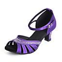 ราคาถูก รองเท้าเต้นโมเดิร์นและรองเท้าบัลเล่ต์-สำหรับผู้หญิง รองเท้าเต้นรำ ซาติน ลาติน หัวเข็มขัด / คริสตัล / พลอยเทียมต่างๆ ส้น ส้นแบบกำหนดเอง ตัดเฉพาะได้ สีม่วง / แดง / Nude / ในที่ร่ม / หนังสัตว์