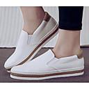 ราคาถูก รองเท้าส้นสูงผู้หญิง-สำหรับผู้หญิง PU ฤดูใบไม้ผลิ รองเท้าส้นเตี้ยทำมาจากหนังและรองเท้าสวมแบบไม่มีเชือก ส้นแบน ขาว / สีดำ