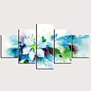 billige Trykk-Trykk Valset lerretskunst - Abstrakt Blomstret / Botanisk Klassisk Moderne Fem Paneler Kunsttrykk