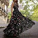 Χαμηλού Κόστους Θήκες iPhone-Γραμμή Α Λαιμόκοψη V Μακρύ Οργάντζα / Τούλι Λουλουδάτο / Κομψό & Πολυτελές Επίσημο Βραδινό / Αργίες Φόρεμα 2020 με Κέντημα / Σχέδιο / Στάμπα