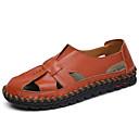 ราคาถูก รองเท้าแตะ & Loafersสำหรับผู้ชาย-สำหรับผู้ชาย รองเท้าสบาย ๆ หนัง ฤดูร้อนฤดูใบไม้ผลิ Sporty / ไม่เป็นทางการ รองเท้าแตะ ระบายอากาศ สีดำ / สีน้ำตาล / ฟ้า