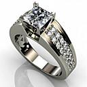 billige Herreringer-Herre Dame Ring Kubisk Zirkonium 1pc Hvit Kobber Geometrisk Form Stilfull Engasjement Daglig Smykker Klassisk Glede Kul