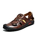 ราคาถูก รองเท้าผ้าใบผู้ชาย-สำหรับผู้ชาย รองเท้าสบาย ๆ แน๊บป้า Leather / ตารางไขว้ ฤดูร้อนฤดูใบไม้ผลิ ไม่เป็นทางการ รองเท้าแตะ ระบายอากาศ สีดำ / สีเหลือง / น้ำตาลเข้ม