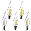 ราคาถูก เครื่องมือวัดอุณหภูมิ-5pcs 1.5 W แสงไฟเทียน LED หลอดไฟLED Filament 200 lm E14 C35L 2 ลูกปัด LED LED กำลังสูง ตกแต่ง ขาวนวล 220-240 V 220 V 230 V
