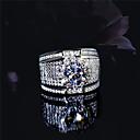 ราคาถูก สร้อยข้อมือผู้ชาย-สำหรับผู้ชาย วงแหวน Cubic Zirconia 1pc สีเงิน S925 เงินสเตอร์ลิง โลหะผสม รูปร่างวงกลม คลาสสิก วินเทจ สง่างาม งานแต่งงาน การหมั้น เครื่องประดับ สไตล์วินเทจ Flower น่ารัก
