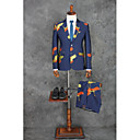 billiga Kostymer-Blå Mönstrad Standardpassform Bomull / Polyester Kostym - Trubbig Singelknäppt Två knappar / kostymer
