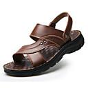 ราคาถูก รองเท้าแตะผู้ชาย-สำหรับผู้ชาย รองเท้าสบาย ๆ หนัง ฤดูร้อน รองเท้าแตะ สีดำ / สีน้ำตาล / กาแฟ