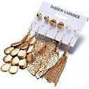 ราคาถูก สร้อยคอ-สำหรับผู้หญิง ชุดต่างหู ลวดลายเป็นเส้น Leaf Shape Stylish ต่างหู เครื่องประดับ สีทอง สำหรับ ของขวัญ ทุกวัน 6 คู่