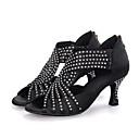 ราคาถูก รองเท้าแบบลาติน-สำหรับผู้หญิง รองเท้าเต้นรำ Synthetics ลาติน Splicing ส้น ส้นป้าน ตัดเฉพาะได้ สีดำ / แดง / ฟ้า / Performance / หนังสัตว์