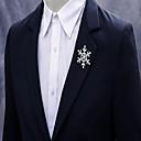 baratos Broches e Pins-Homens Mulheres Cristal Broches Criativo Floco de Neve Simples Fashion Broche Jóias Prata Para Natal Casamento Festa Noivado Presente