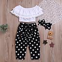 Χαμηλού Κόστους Σετ ρούχων για κορίτσια-Παιδιά Κοριτσίστικα Μπόχο Κομψό στυλ street Μονόχρωμο Πουά Δαντέλα Εξώπλατο Αμάνικο Κανονικό Κανονικό Βαμβάκι Σετ Ρούχων Λευκό