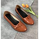ราคาถูก รองเท้าส้นเตี้ยผู้หญิง-สำหรับผู้หญิง รองเท้าส้นเตี้ย รองเท้าส้นตึก ปลายกลม ปมผ้า Microfibre ไม่เป็นทางการ ฤดูร้อนฤดูใบไม้ผลิ สีดำ / สีน้ำตาล / แดง