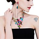 Χαμηλού Κόστους Σετ Κοσμημάτων-Γυναικεία Κρυστάλλινο High Crystal Κρεμαστά Σκουλαρίκια Κρεμαστό Ουράνιο Τόξο Παγόνι Γλυκός Κομψό Χρώμα Προσομειωμένο διαμάντι Σκουλαρίκια Κοσμήματα Σκούρο μπλε / Ουράνιο Τόξο / Ροζ Για Γάμου Πάρτι