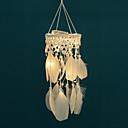cheap Dreamcatcher-Handmade Dream Catchers LED Lights White Feather Wall Decorations