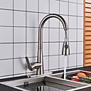 ราคาถูก อุปกรณ์ทำความสะอาดห้องครัว-ก๊อกน้ำสำหรับห้องครัว - จับเดี่ยวหนึ่งหลุม Nickel Brushed ดึงออก / ดึงลง ติดโต๊ะ ร่วมสมัย Kitchen Taps