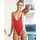 povoljno Seksi kostimi-Žene Otvorena leđa Super seksi Seksi bodi Noćno rublje Jednobojni Obala Crn Red M L XL / Duboki V