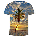 Χαμηλού Κόστους Σετ τσάντες-Ανδρικά T-shirt Βασικό / Μπόχο Συνδυασμός Χρωμάτων / 3D Στρογγυλή Λαιμόκοψη Στάμπα Ουράνιο Τόξο / Κοντομάνικο