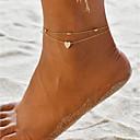 ราคาถูก เครื่องประดับร่างกาย-สำหรับผู้หญิง สร้อยข้อมือข้อเท้า เครื่องประดับเท้า Heart ง่าย Hotwife สร้อยข้อเท้า เครื่องประดับ สีทอง สำหรับ ทุกวัน เทศกาลคานาวาล Street ฮอลิเดย์ คลับ