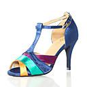 ราคาถูก รองเท้าเต้นโมเดิร์นและรองเท้าบัลเล่ต์-สำหรับผู้หญิง รองเท้าเต้นรำ หนังเทียม ลาติน ส้น ส้นสูงบาง ตัดเฉพาะได้ ฟ้า / Performance / หนังสัตว์ / ฝึก