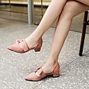ราคาถูก รองเท้าส้นสูงผู้หญิง-สำหรับผู้หญิง PU ฤดูใบไม้ผลิ รองเท้าส้นสูง Block Heel Pointed Toe สีดำ / สีชมพู / Almond