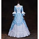 ราคาถูก ล้อจักรยาน-เครื่องแต่งกายในเทพนิยาย Renaissance หนึ่งชิ้น ชุดเดรส Outfits Party Costume Masquerade สำหรับผู้หญิง เครื่องแต่งกาย สีฟ้า+สีขาว Vintage คอสเพลย์ แขนยาว 3/4
