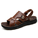 Χαμηλού Κόστους Αντρικά Πέδιλα-Ανδρικά Παπούτσια άνεσης Δέρμα Καλοκαίρι Σανδάλια Μαύρο / Ανοικτό Καφέ / Σκούρο καφέ