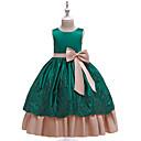 זול תחפושות מהעולם הישן-נסיכה ארוך שמלה לנערת הפרחים  - כותנה / תחרה / סאטן ללא שרוולים עם תכשיטים עם פפיון(ים) / ריקמה / חגורה על ידי LAN TING Express