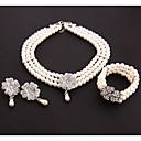 Χαμηλού Κόστους Σετ Κοσμημάτων-Γυναικεία Διάφανο Μαργαριταρένια Wrap Βραχιόλια Coliere cu Perle Πολυέλαιος Μοντέρνα Σκουλαρίκια Κοσμήματα Λευκό Για Αργίες Φεστιβάλ 1set