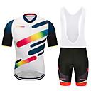 ราคาถูก ชุดเซทปั่นจักรยาน-MUBODO สำหรับผู้ชาย แขนสั้น Cycling Jersey with Bib Shorts สีดำ / สีขาว จักรยาน ชุดออกกำลังกาย ระบายอากาศ แห้งเร็ว แถบสะท้อนแสง กีฬา กินกัน ขี่จักรยานปีนเขา Road Cycling เสื้อผ้าถัก / ยืด