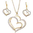 ราคาถูก ชุดเครื่องประดับ-สำหรับผู้หญิง Drop Earrings สร้อยคอจี้ สองชั้น Heart หัวใจกลวง เกี่ยวกับยุโรป หวาน แฟชั่น ไข่มุกเทียม พลอยเทียม ต่างหู เครื่องประดับ สีทอง / สีเงิน สำหรับ ปาร์ตี้ ฮอลิเดย์ เทศกาล 3 ชิ้น