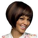Χαμηλού Κόστους Συνθετικές περούκες χωρίς σκουφί-Συνθετικές Περούκες Φράντζες Afro Φυσικό ευθεία Κούρεμα καρέ Ελεύθερο μέρος Περούκα Κοντό Σκούρο καφέ / Σκούρο Auburn Συνθετικά μαλλιά 12 inch Γυναικεία Μοδάτο Σχέδιο Γυναικεία συνθετικός Καφέ