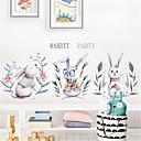 זול מדבקות קיר-יד צבוע בסגנון נורדי חמוד ארנב קיר מדבקות בחדר הילדים קישוט גן פריסה חינם מדבקות טפט עצמי דבק