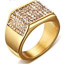 billige Graverte Ringer-Herre Ring Kubisk Zirkonium 1pc Gull Titanium Stål Kvadrat Stilfull Fest Daglig Smykker Klassisk Gypsophila Kul
