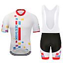 ราคาถูก ชุดออกกำลังกายและชุดโยคะ-MUBODO สำหรับผู้ชาย แขนสั้น Cycling Jersey with Bib Shorts แดง / ขาว จักรยาน ชุดออกกำลังกาย ระบายอากาศ แห้งเร็ว แถบสะท้อนแสง กีฬา กินกัน ขี่จักรยานปีนเขา Road Cycling เสื้อผ้าถัก / ยืด