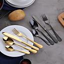 billiga Fiskbeten och flugor-4pcs regnbågsmiddagsserie set rostfritt bestick sätta svart kniv gaffeluppsättning bordsartiklar guld silver bestick västerländska servis