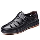 Χαμηλού Κόστους Αντρικά Πέδιλα-Ανδρικά Παπούτσια άνεσης Δερμάτινο Ανοιξη καλοκαίρι Κλασσικό / Καθημερινό Σανδάλια Μη ολίσθηση Μαύρο / Καφέ