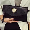 ราคาถูก กระเป๋าถือออกงานและกระเป๋าคลัทช์-สำหรับผู้หญิง ซิป PU กระเป๋าถือ สีดำ
