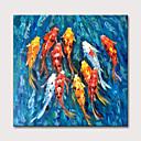 ราคาถูก ภาพวาดแอบสแตรก-ภาพวาดสีน้ำมันมือทาสีสัตว์บ่อปลาคราฟบทคัดย่อผ้าใบศิลปะรีดผ้าใบ