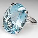 billiga Moderingar-Dam Ring Löftesring Akvamarin 1st Vit Ljusblå Koppar Oval Stilig Party Förlovning Smycken Klassisk Glädje Häftig