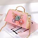 ราคาถูก กระเป๋า Totes-สำหรับผู้หญิง PU กรเป๋าหิ้ว พิมพ์ดอกไม้ สีดำ / ขาว / สีแดงชมพู