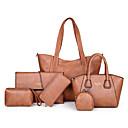 ราคาถูก เซ็ตกระเป๋า-สำหรับผู้หญิง ซิป PU ชุดกระเป๋า สีทึบ ชุดชอปปิ้งชุด 6 ชิ้น สีดำ / น้ำตาลเข้ม / สีแดงชมพู