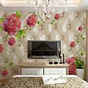 baratos Varas de Pesca-papel de parede / Mural / Pano de parede Tela de pintura Revestimento de paredes - adesivo necessário Floral / Botânico / Art Deco / 3D